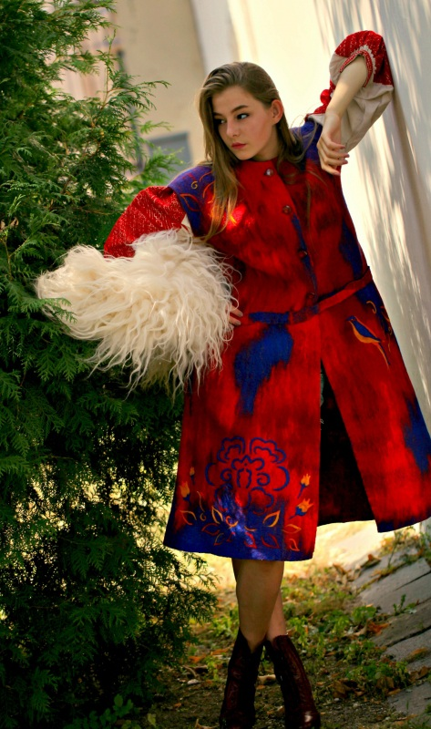 """Кардиган """"Радость жизни"""" Красный шерсть австралийских мери Галамага Виктория - фото 1"""