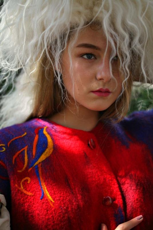 """Кардиган """"Радость жизни"""" Красный шерсть австралийских мери Галамага Виктория - фото 5"""