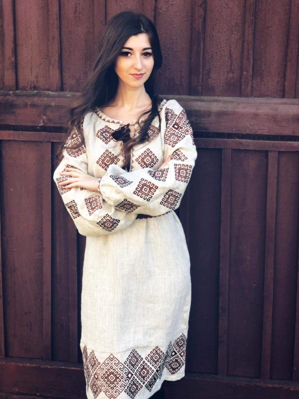 Платье Ромбы Традиционное Белый Льон Borshchivyanka etno style - фото 1