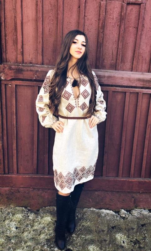 Платье Ромбы Традиционное Белый Льон Borshchivyanka etno style - фото 2