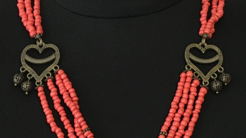 """Ожерелье """"Цветок"""" Красный Стеклянные бусины """"п Ганусяк Мария - фото 3"""