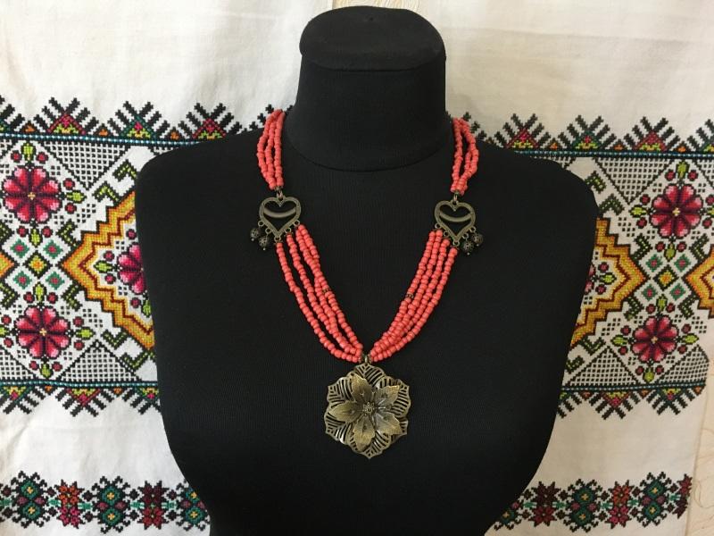 """Ожерелье """"Цветок"""" Красный Стеклянные бусины """"п Ганусяк Мария - фото 1"""