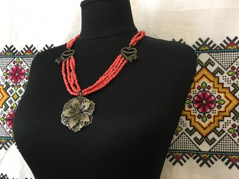 """Ожерелье """"Цветок"""" Красный Стеклянные бусины """"п Ганусяк Мария - фото 2"""