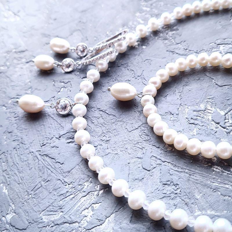 Комплект из натурального жемчуга в серебре с кристаллами циркона Белый Натуральный белый жемчуг, Гармаш Елена - фото 2