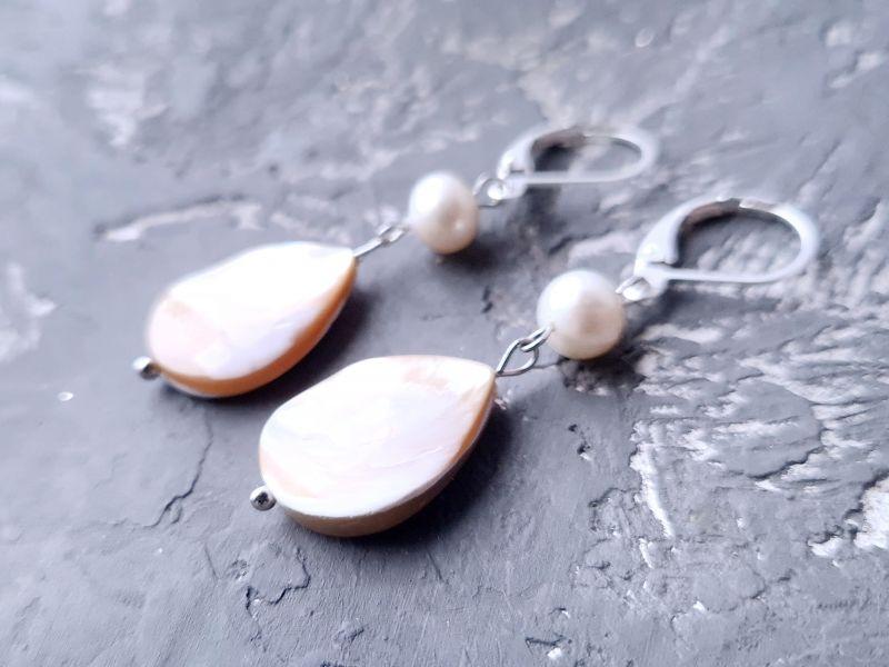 Серебряные серьги с натуральным роскошным перламутром и жемчугом Белый натуральний сяючий перлам Гармаш Елена - фото 5