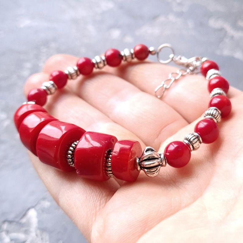Комплект из натурального коралла браслет и серьги № 307 Красный Натуральные кораллы, мета Гармаш Елена - фото 4