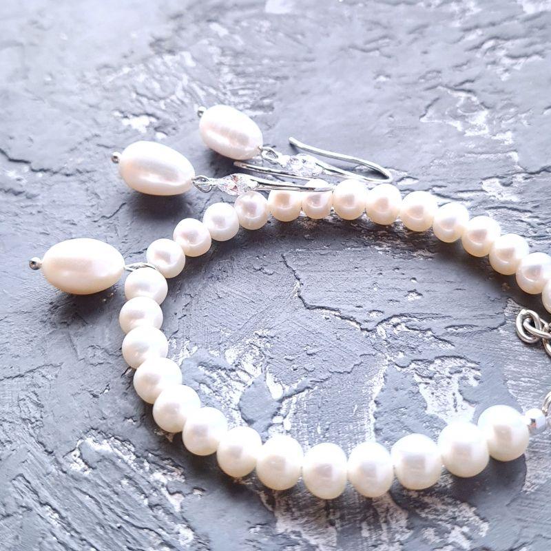 Серьги с крупными натуральными жемчужинами и кристаллами циркона Белый натуральный белый жемчуг Гармаш Елена - фото 4