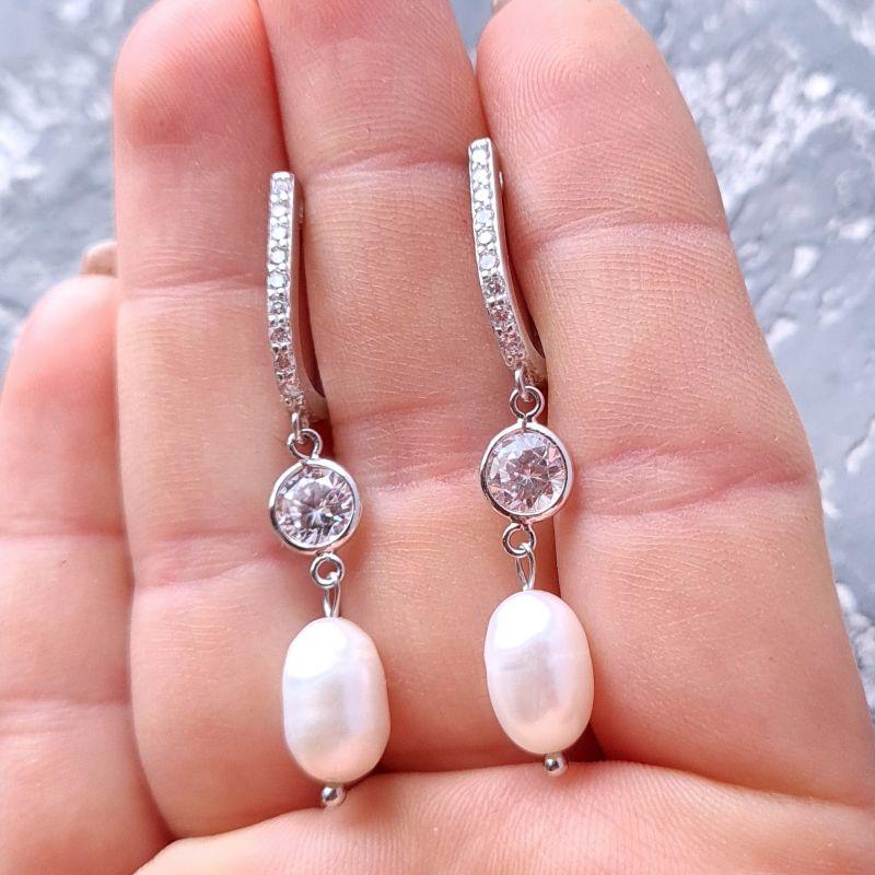 Комплект из натурального жемчуга в серебре с кристаллами циркона Белый Натуральный белый жемчуг, Гармаш Елена - фото 6