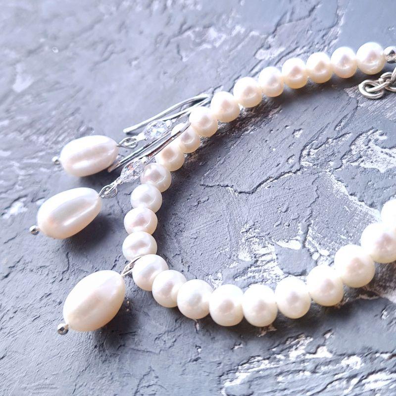 Серьги с крупными натуральными жемчужинами и кристаллами циркона Белый натуральный белый жемчуг Гармаш Елена - фото 3