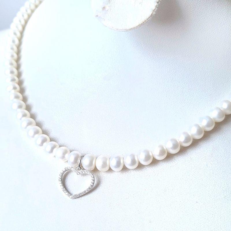 Колье из натурального жемчуга в серебре с кристаллами сердце большое Белый натуральный жемчуг, сереб Гармаш Елена - фото 2