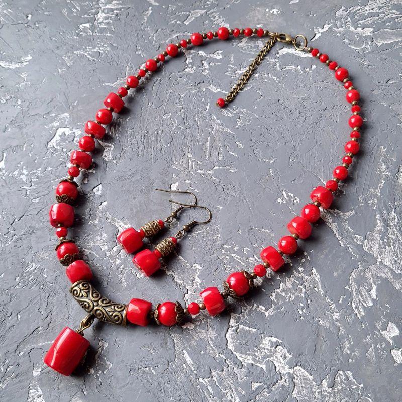 Колье с натуральными кораллами и этно орнаментом Красный натуральные кораллы, иску Гармаш Елена - фото 5
