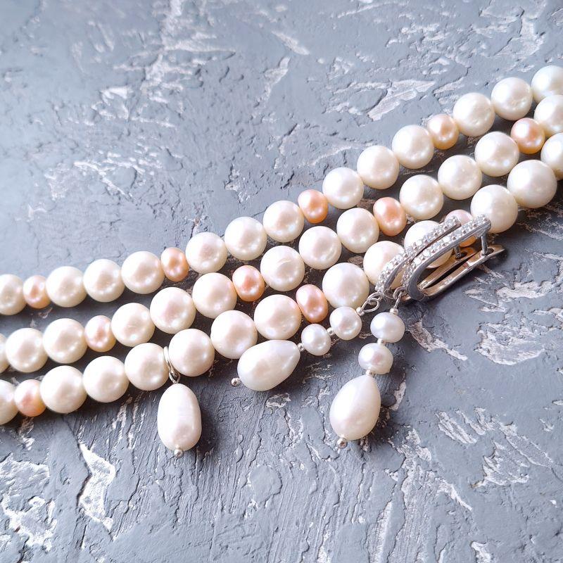 Браслет и серебряные серьги из натурального белого и персикового жемчуга  Белый натуральный жемчуг, метал Гармаш Елена - фото 3