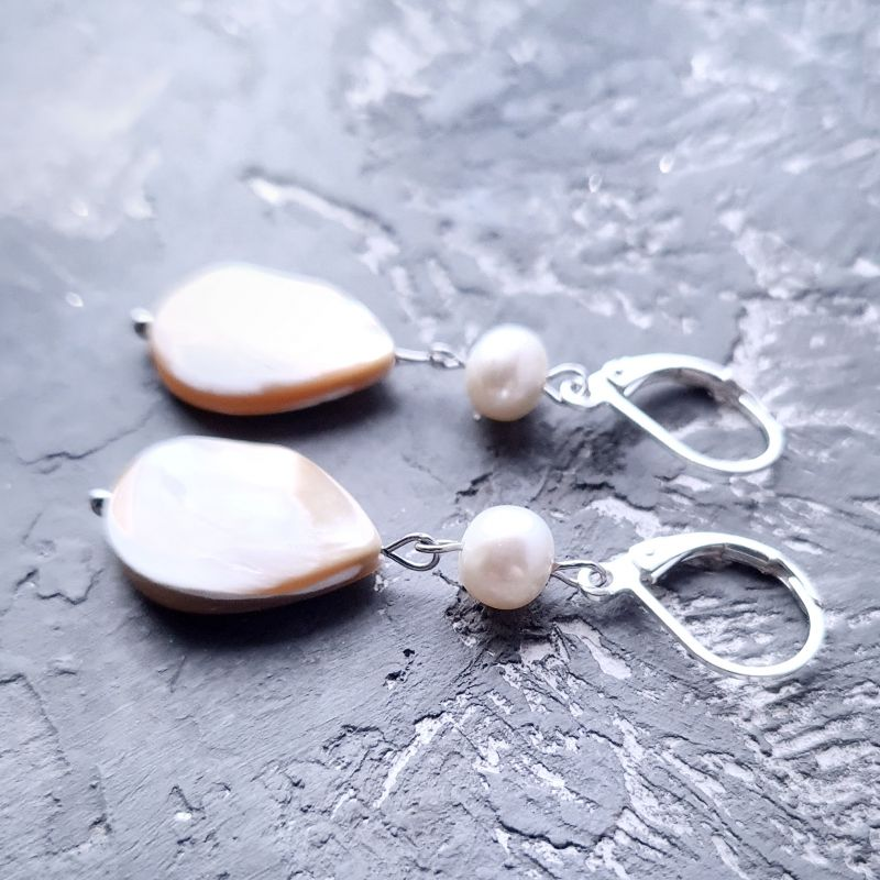 Серебряные серьги с натуральным роскошным перламутром и жемчугом Белый натуральний сяючий перлам Гармаш Елена - фото 1