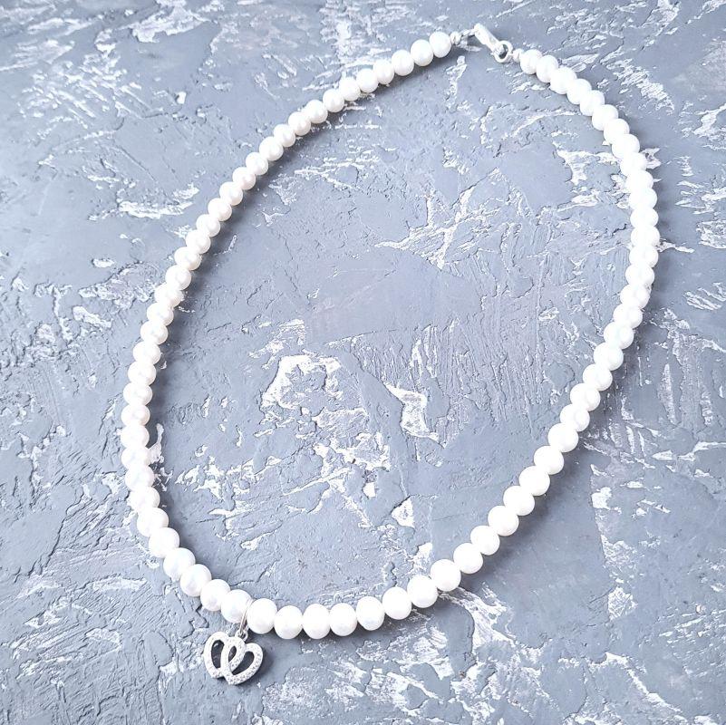 Колье из натурального жемчуга в серебре с кристаллами 2 сердца Белый натуральный жемчуг, сереб Гармаш Елена - фото 3