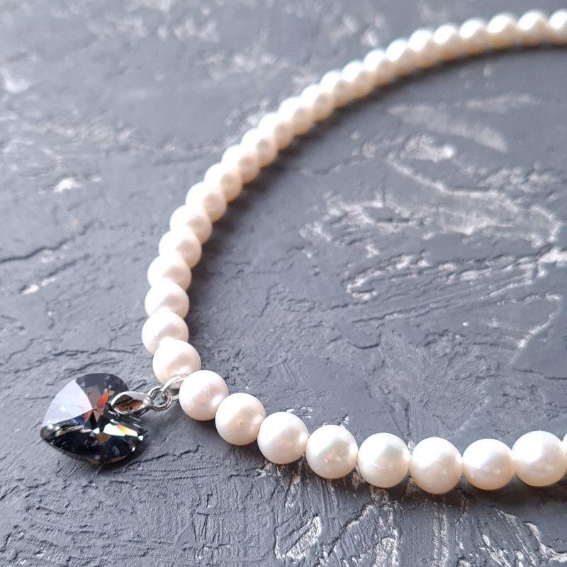 Колье из натурального жемчуга и кристалла сердце Swarovski Белый натуральный белый жемчуг, Гармаш Елена - фото 5