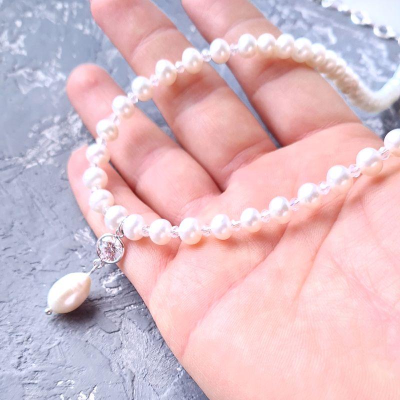 Колье из натурального жемчуга в серебре с кристаллом циркона Белый Натуральный белый жемчуг, Гармаш Елена - фото 3