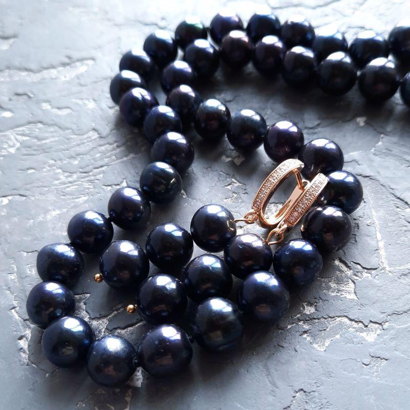 Серьги из натурального жемчуга в позолоте Черный натуральный жемчуг , позо Гармаш Елена - фото 5