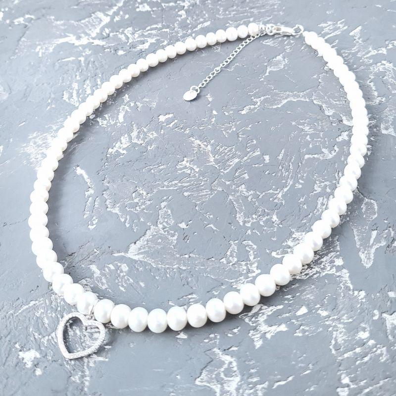 Колье из натурального жемчуга в серебре с кристаллами сердце большое Белый натуральный жемчуг, сереб Гармаш Елена - фото 5