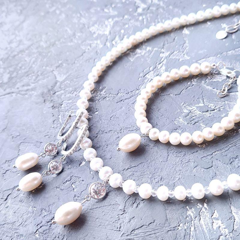 Комплект из натурального жемчуга в серебре с кристаллами циркона Белый Натуральный белый жемчуг, Гармаш Елена - фото 1