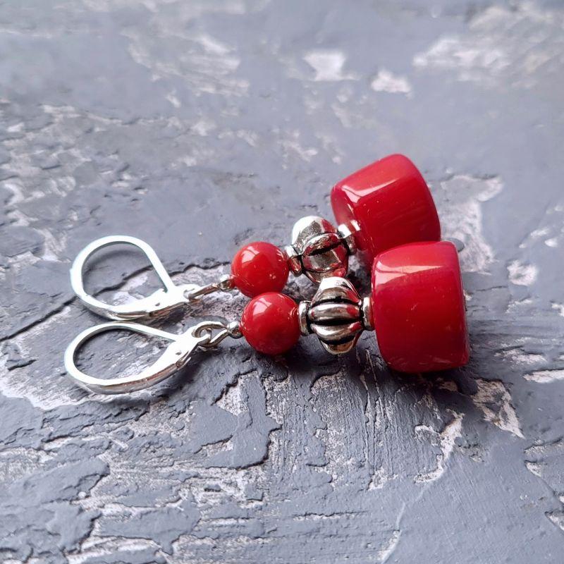 Комплект из натурального коралла браслет и серьги № 307 Красный Натуральные кораллы, мета Гармаш Елена - фото 2
