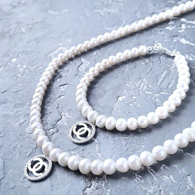 Колье из натурального жемчуга в серебре с кристаллами Белый натуральный жемчуг, сереб Гармаш Елена - фото 3