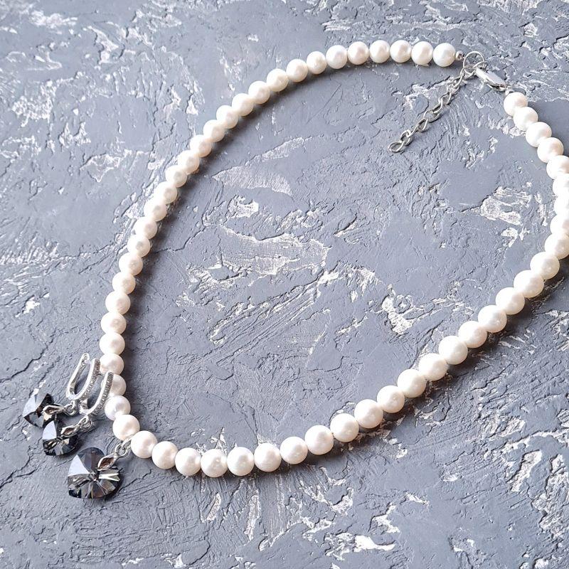 Колье и серьги из натурального жемчуга с подвесками сердце Swarovski Белый Натуральный белый жемчуг, Гармаш Елена - фото 6