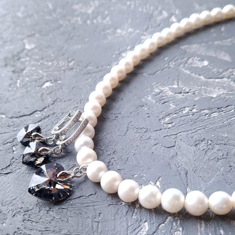 Колье и серьги из натурального жемчуга с подвесками сердце Swarovski Белый Натуральный белый жемчуг, Гармаш Елена - фото 1