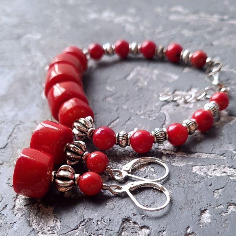 Комплект из натурального коралла браслет и серьги № 307 Красный Натуральные кораллы, мета Гармаш Елена - фото 5