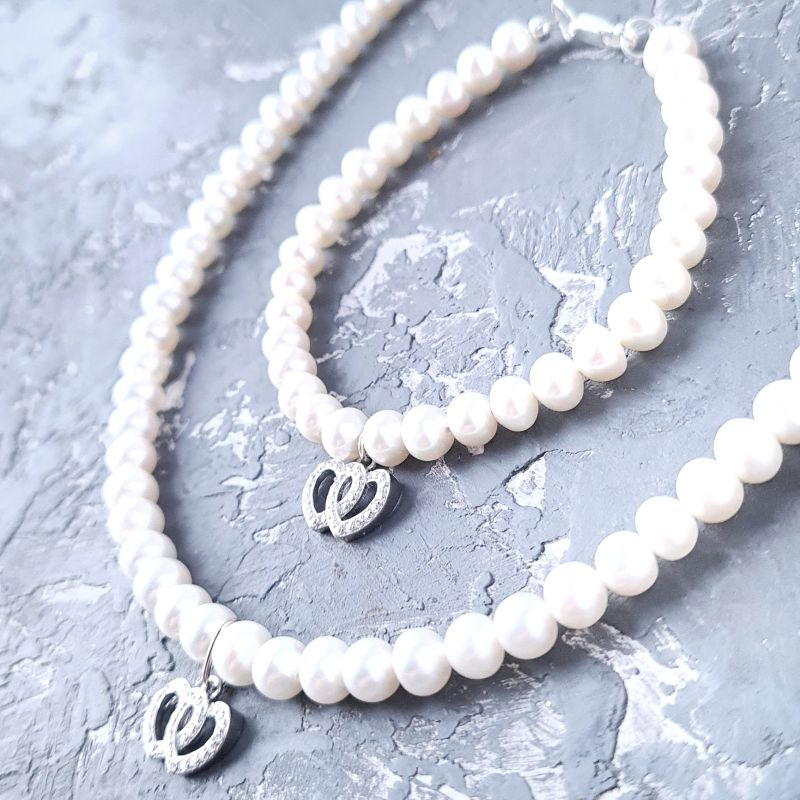 Комплект из натурального жемчуга в серебре колье и браслет 2 сердца Белый Натуральный белый жемчуг, Гармаш Елена - фото 1