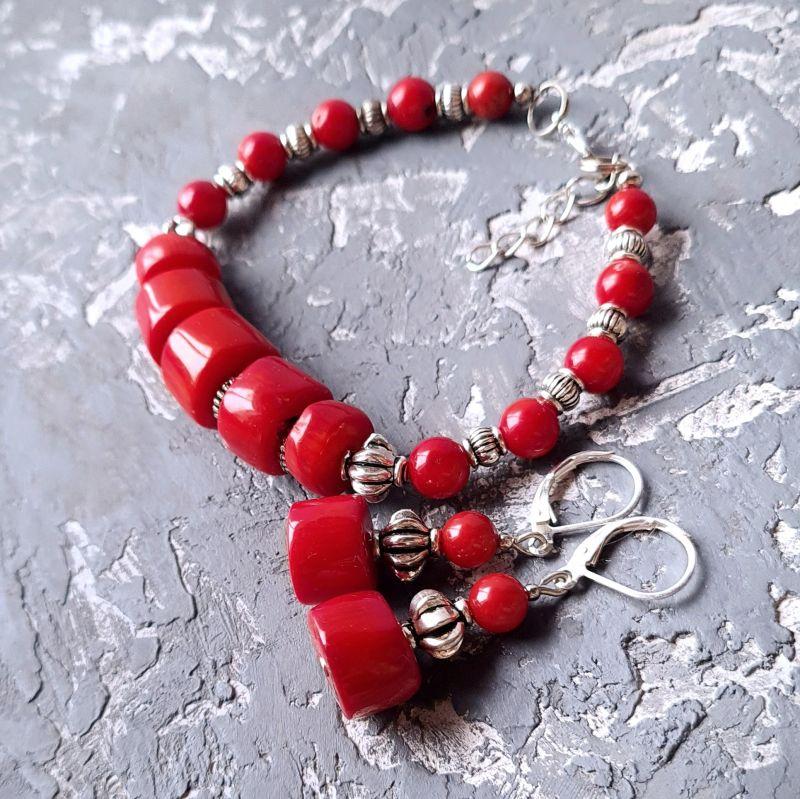 Комплект из натурального коралла браслет и серьги № 307 Красный Натуральные кораллы, мета Гармаш Елена - фото 1