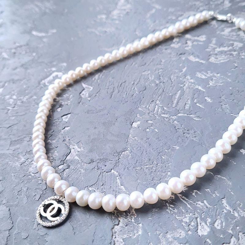 Колье из натурального жемчуга в серебре с кристаллами Белый натуральный жемчуг, сереб Гармаш Елена - фото 4