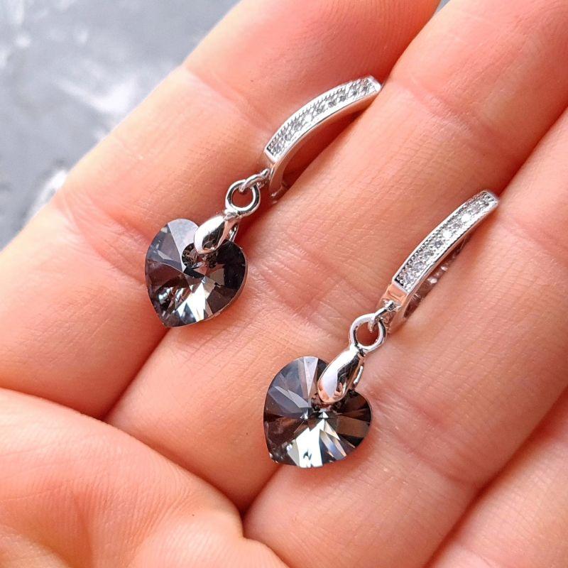 Колье и серьги из натурального жемчуга с подвесками сердце Swarovski Белый Натуральный белый жемчуг, Гармаш Елена - фото 3