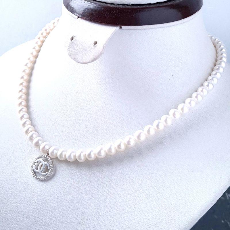 Колье из натурального жемчуга в серебре с кристаллами Белый натуральный жемчуг, сереб Гармаш Елена - фото 2