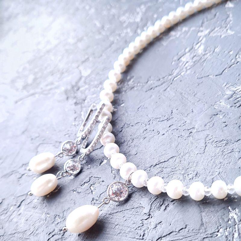 Серебряные украшения для невесты колье и серьги с жемчугом Белый Натуральный белый жемчуг, Гармаш Елена - фото 1