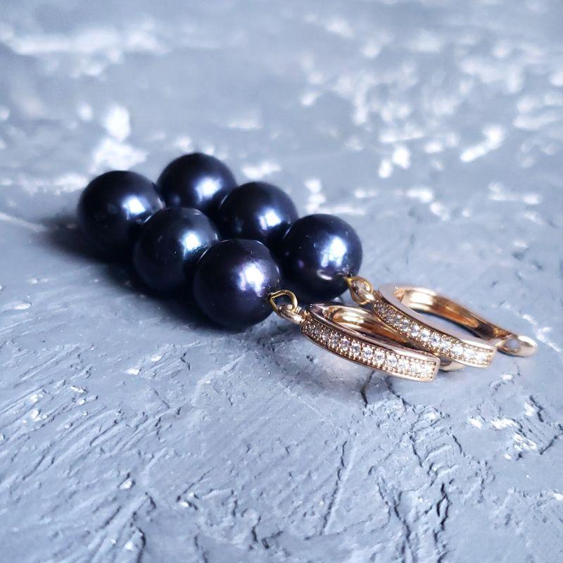 Серьги из натурального жемчуга в позолоте Черный натуральный жемчуг , позо Гармаш Елена - фото 1