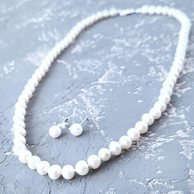 Классический комплект из натурального жемчуга в серебре Белый Натуральный белый жемчуг, Гармаш Елена - фото 2