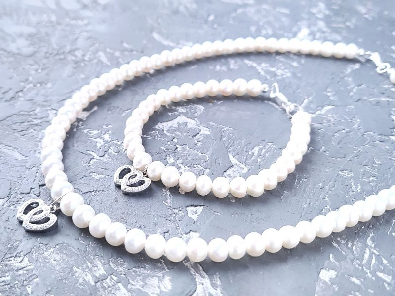 Браслет из натурального жемчуга в серебре с кристаллами 2 сердца Белый натуральный жемчуг, сереб Гармаш Елена - фото 3