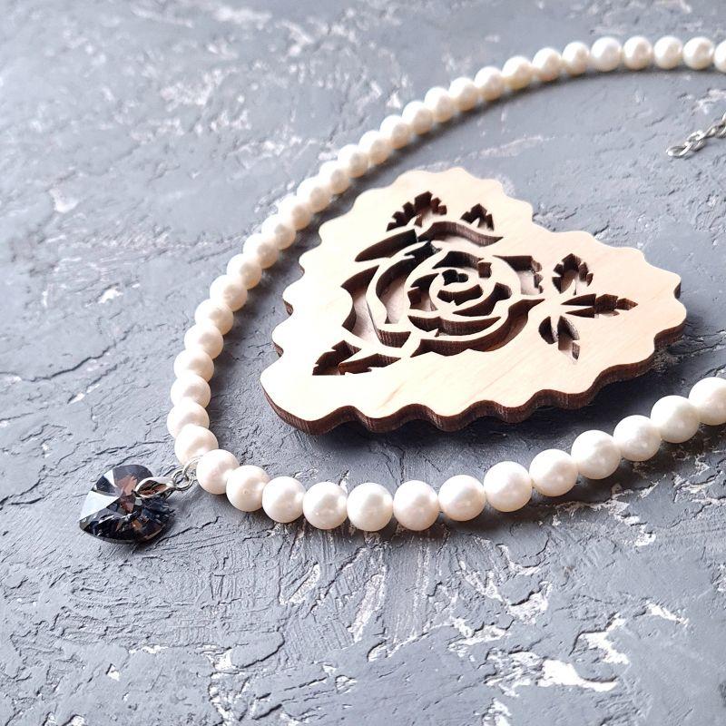 Колье из натурального жемчуга и кристалла сердце Swarovski Белый натуральный белый жемчуг, Гармаш Елена - фото 1