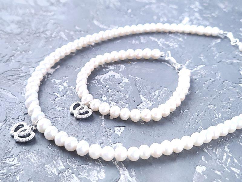 Колье из натурального жемчуга в серебре с кристаллами 2 сердца Белый натуральный жемчуг, сереб Гармаш Елена - фото 6