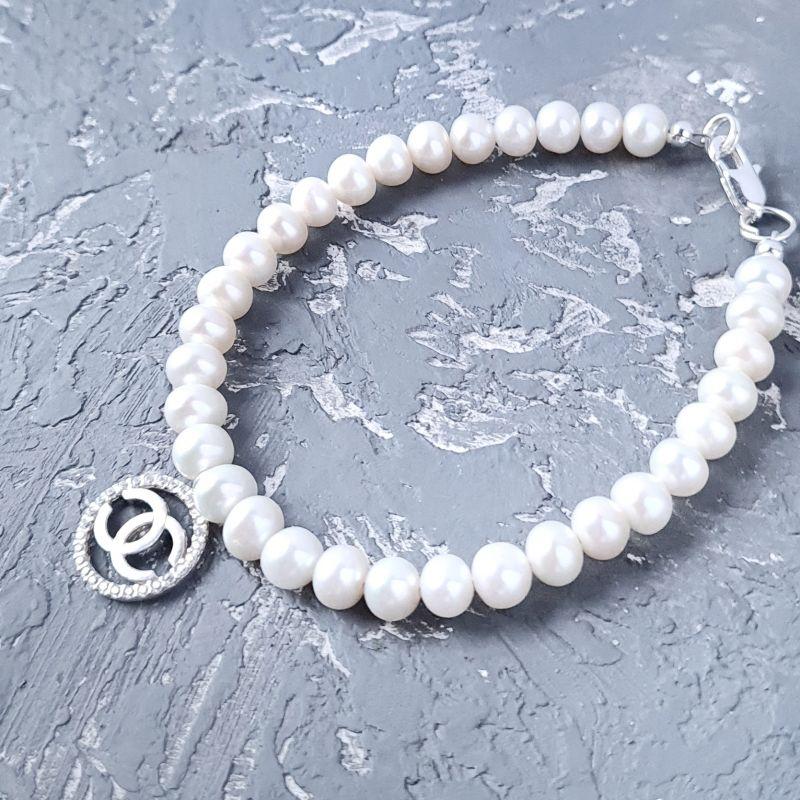 Комплект из натурального жемчуга в серебре колье и браслет Белый Натуральный белый жемчуг, Гармаш Елена - фото 7