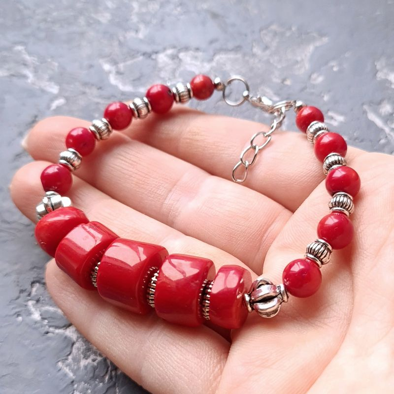 Комплект из натурального коралла браслет и серьги № 307 Красный Натуральные кораллы, мета Гармаш Елена - фото 3
