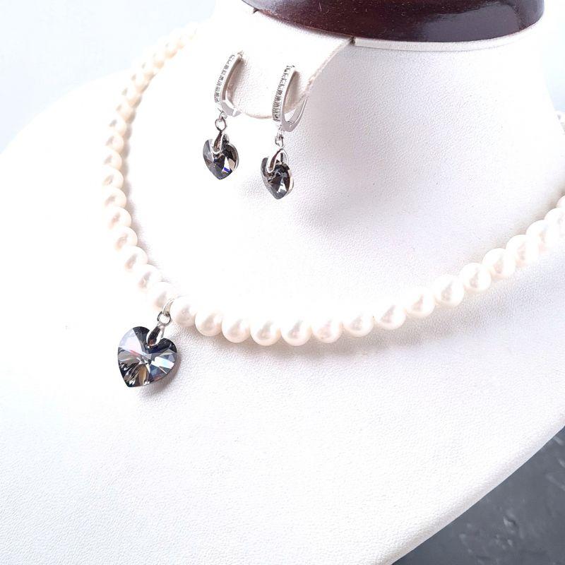Колье и серьги из натурального жемчуга с подвесками сердце Swarovski Белый Натуральный белый жемчуг, Гармаш Елена - фото 2