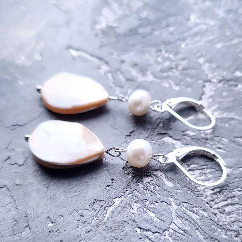 Комплект в серебре роскошные серьги и кулон на цепочке Белый натуральный сияющий перла Гармаш Елена - фото 5