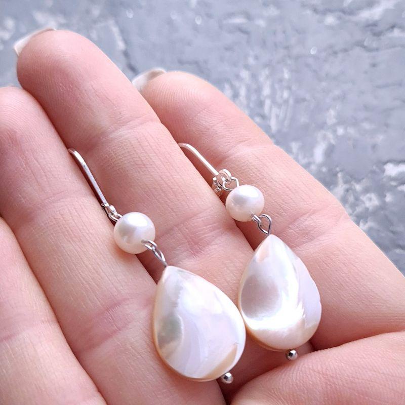 Комплект в серебре роскошные серьги и кулон на цепочке Белый натуральный сияющий перла Гармаш Елена - фото 4