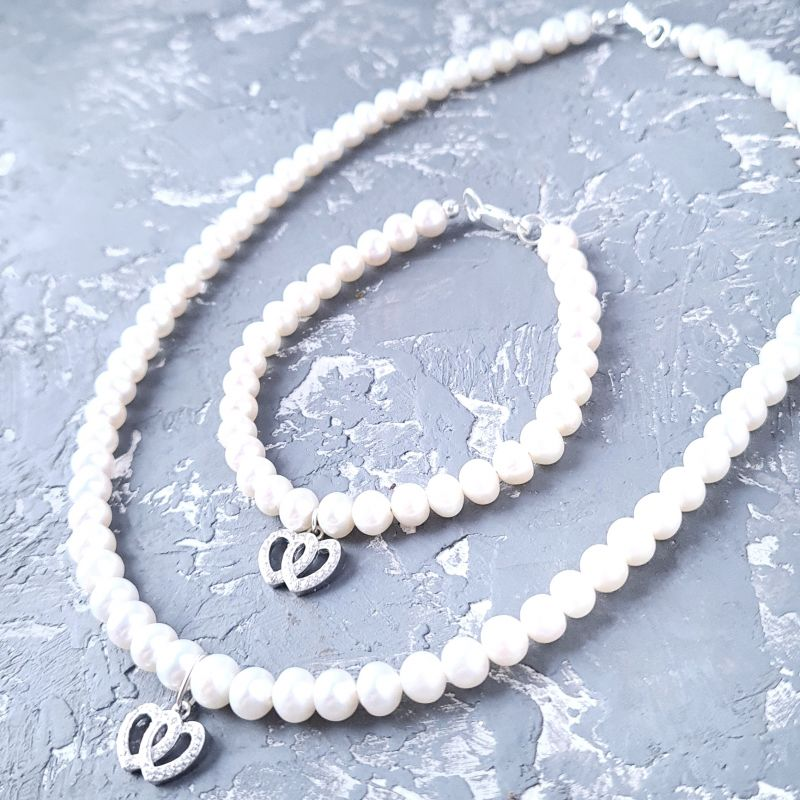 Комплект из натурального жемчуга в серебре колье и браслет 2 сердца Белый Натуральный белый жемчуг, Гармаш Елена - фото 4