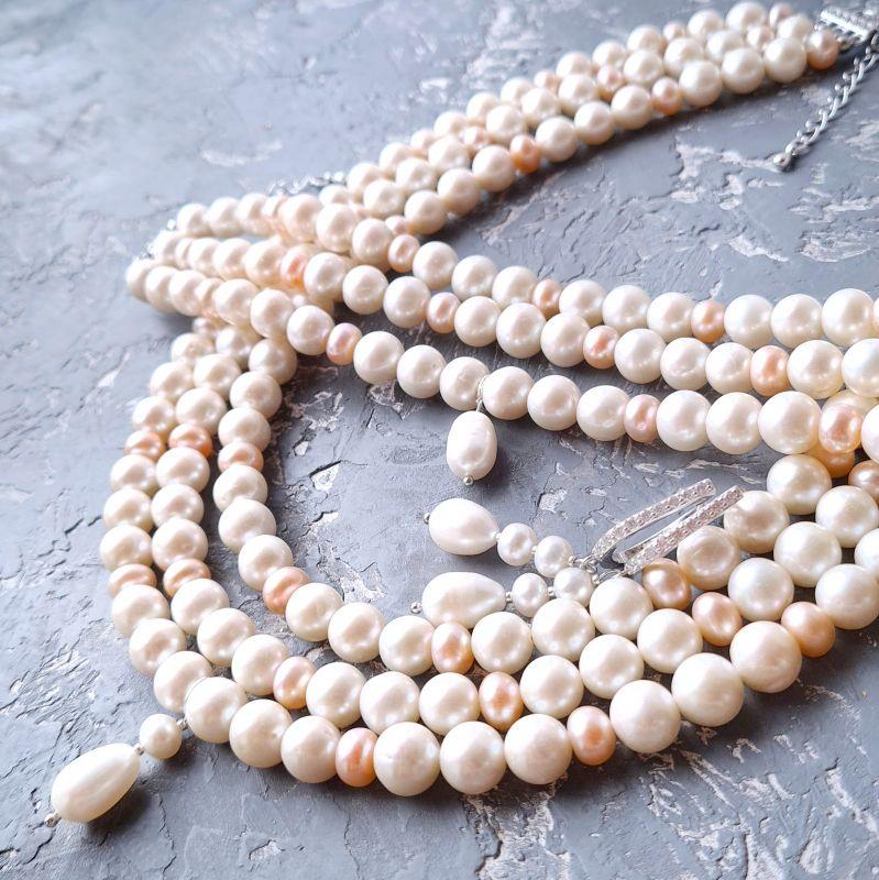 Браслет и серебряные серьги из натурального белого и персикового жемчуга  Белый натуральный жемчуг, метал Гармаш Елена - фото 6