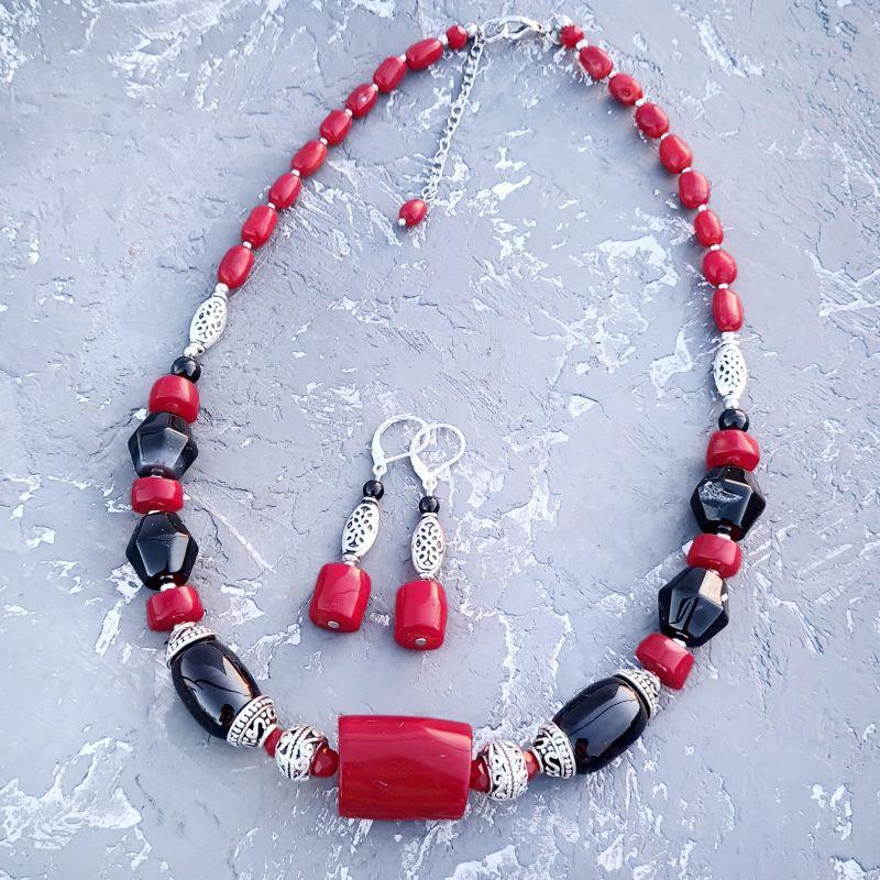 Роскошное колье с огромным натуральным кораллом и серьги Красный натуральные кораллы, нату Гармаш Елена - фото 1