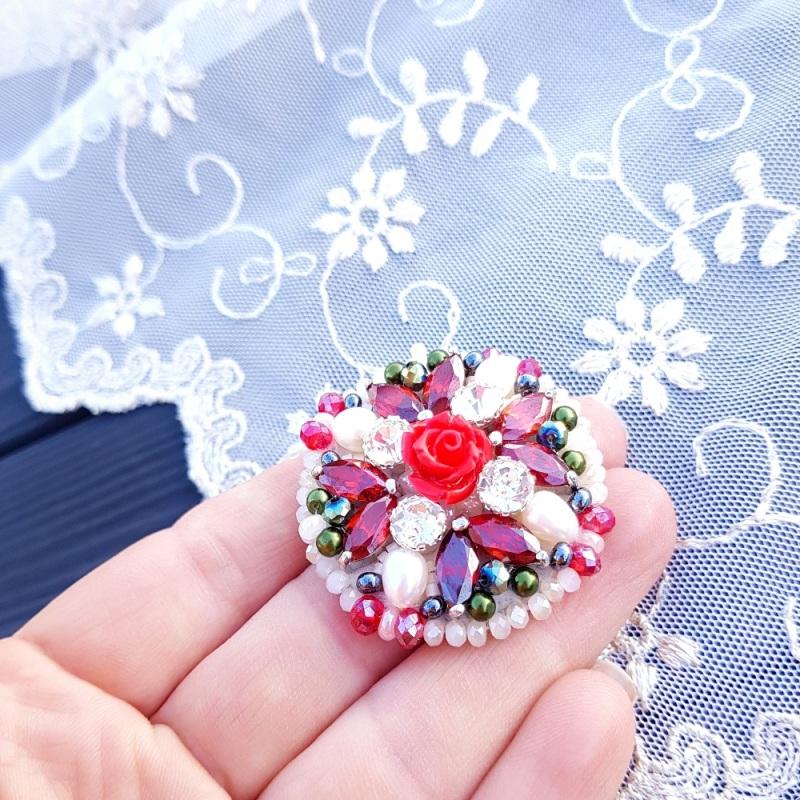 Брошь с натуральным жемчугом и кристаллами Разноцветный натуральные белый жемчуг Гармаш Елена - фото 5