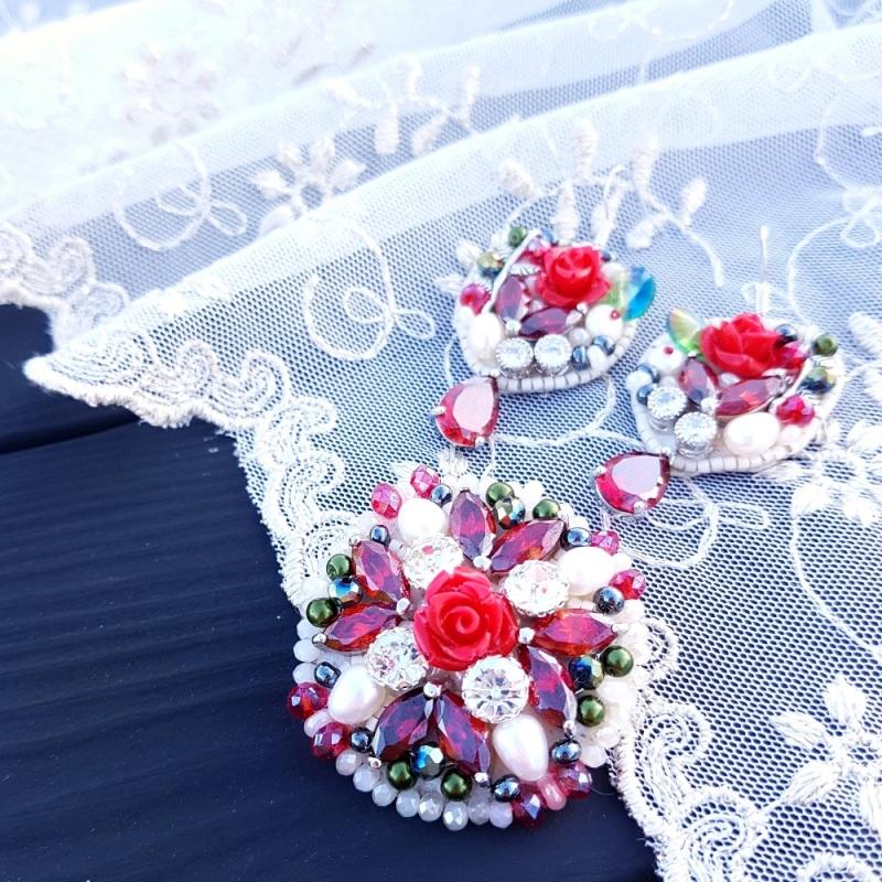 Брошь с натуральным жемчугом и кристаллами Разноцветный натуральные белый жемчуг Гармаш Елена - фото 4