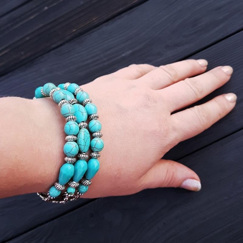 Комплект браслет и серьги из бирюзы и кристаллов Голубой Бирюза синтетическая, хру Гармаш Елена - фото 3